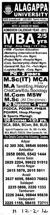 MBA, MSc and MCA Courses etc (Alagappa University)