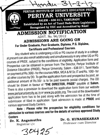 UG, Diploma course and PG Courses etc (Vinayaka Missions University)
