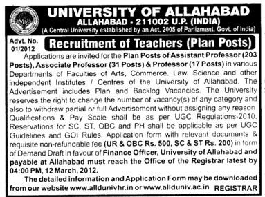 Professor, Associate Professor and Asstt Professor (University of Allahabad (UoA))
