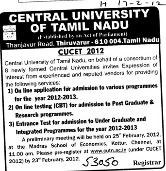 CUCET 2012 (Central University of Tamil Nadu (CUTN))