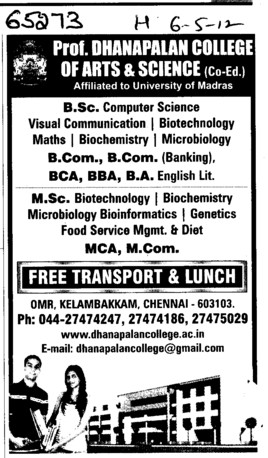 BCom, BCA, BBA and MCA Courses etc (Prof Dhanapalan College for Science and Management)