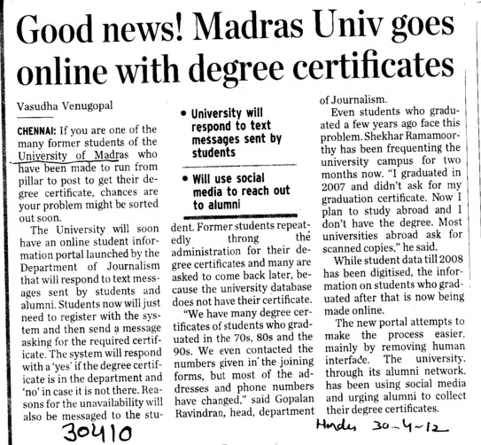 Madras univ goes online with degree certificates (University of Madras)