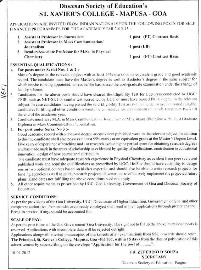 Asstt Professor in Journalism and Reader etc (St Xaviers College of Arts, Science and Commerce)