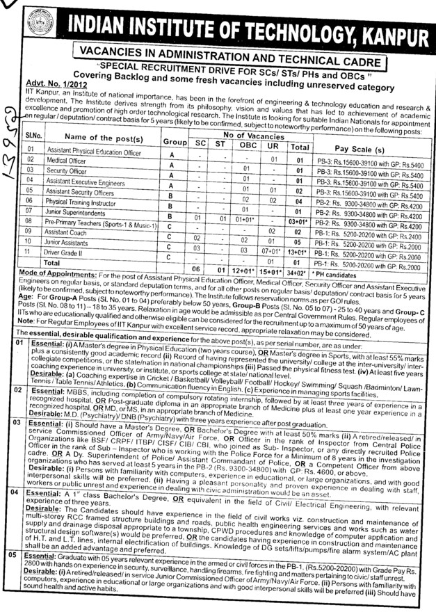 Medical Officer, Security Officer and Junior Asstt (Indian Institute of Technology (IITK))