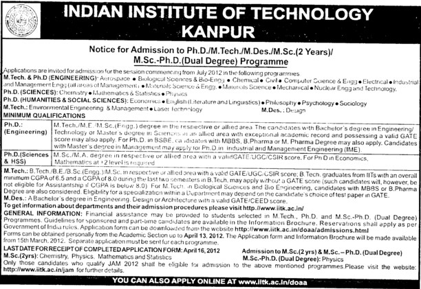MSc and PhD Programmes (Indian Institute of Technology (IITK))