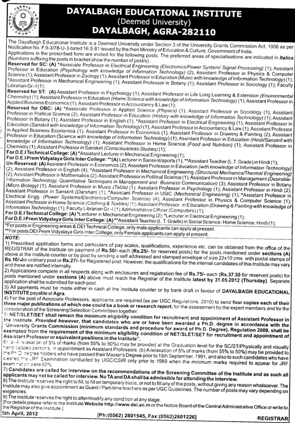 Professor, Associate Professor and Asstt Professor etc (Dayalbagh Educational Institute Deemed University)