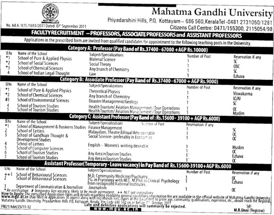 Professor, Associate Professor and Asstt Professor etc (Mahatma Gandhi University)