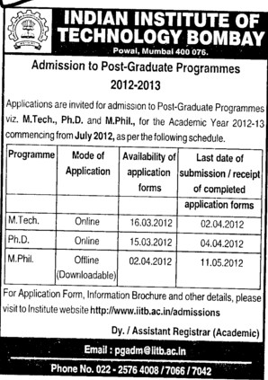 MTech, PhD and MPhil Programmes (Indian Institute of Technology (IITB))