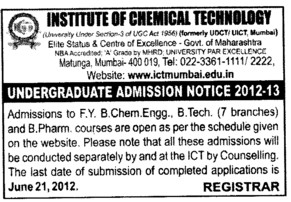 BTech and B Pharm Course (Institute of Chemical Technology)