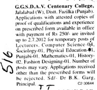 Lecturer on adhoc basis (GGS DAV Centenary College)