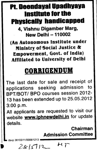 Admission to BPT, BOT and BPO (Pandit Deendayal Upadhyaya Institute for the Physically Handicapped (PDDUIPH))