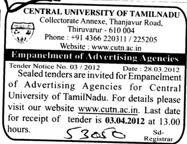 Empanelment of Advertising Agencies (Central University of Tamil Nadu (CUTN))