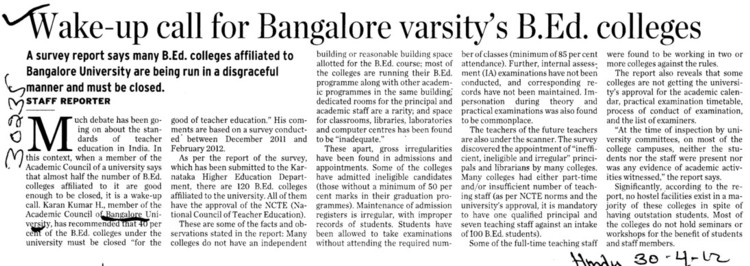 Wake up call for Bangalore varsitys BEd Colleges (Bangalore University)