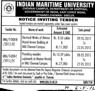 Electrical works and wooden cupboards etc (Indian Maritime University)
