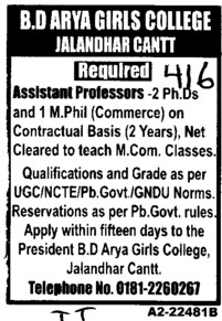 Asstt Professor on Contractual basis (BD Arya Girls College)