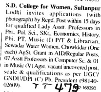 Lady Asstt Professor (SD College for Women)