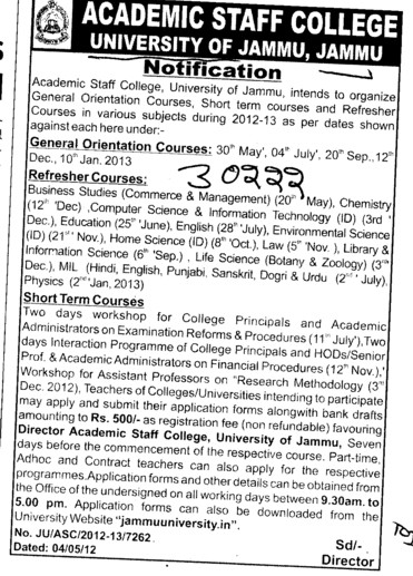 Refresher and Short term courses (Jammu University)