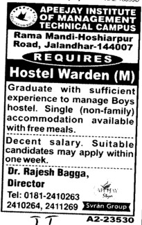 Hostel Warden (Apeejay Institute of Management)
