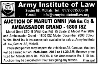 Auction of Maruti Omni (Army Institute of Law)