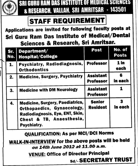 Professor, Associate Professor and Asstt Professor etc (Sri Guru Ram Das Institute of Medical Sciences and Research)