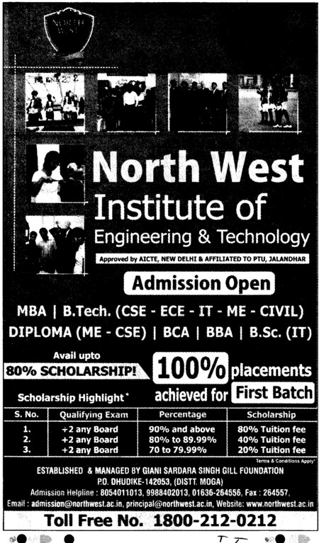 BTech, MTech and MBA Courses (North West Institute of Engineering and Technology NWIET Moga)