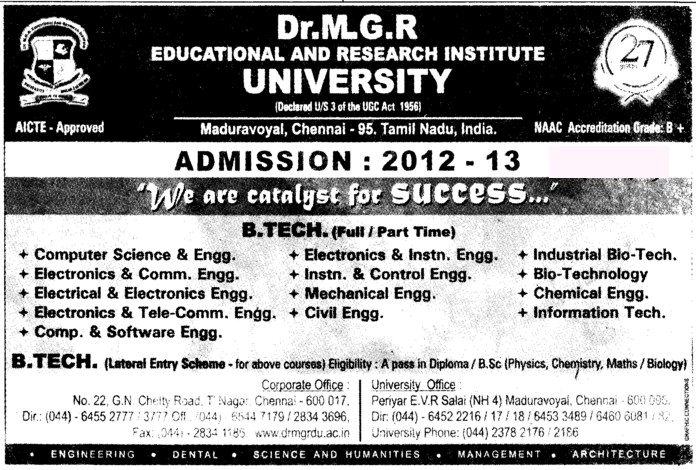 BTech in various streams (Dr MGR Educational and Research Institute University)