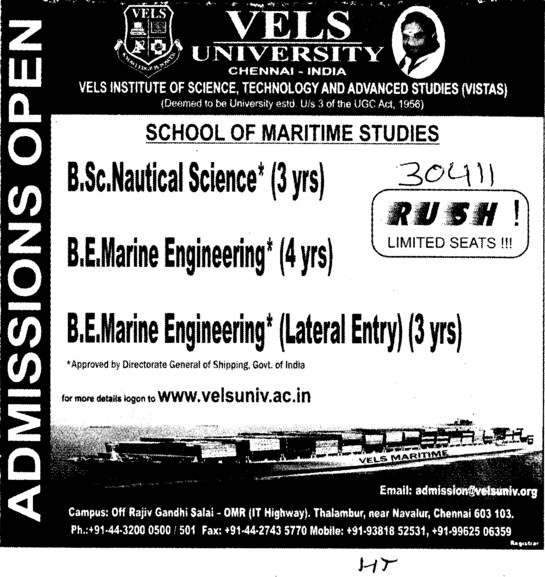 Bsc in Nautical Science and Marine Engg etc (VELS University)