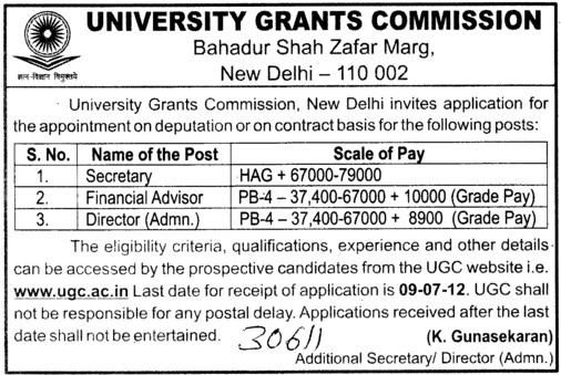 Secretary and Finance Advisor etc (University Grants Commission (UGC))