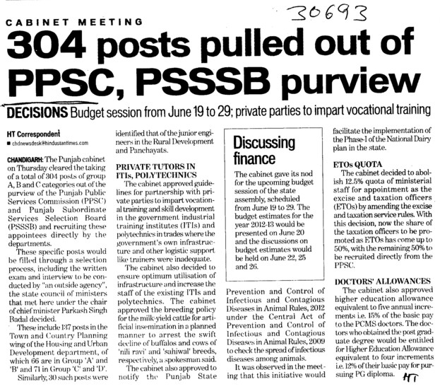 304 posts pulled out of PPSC, PSSSB purview (Punjab Public Service Commission (PPSC))