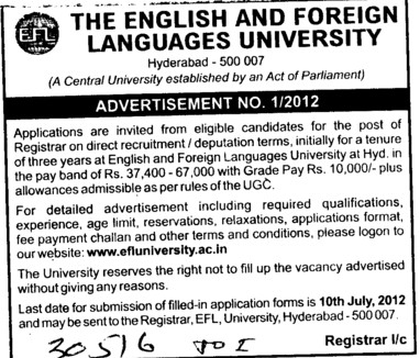 Registrar (English and Foreign Languages University)