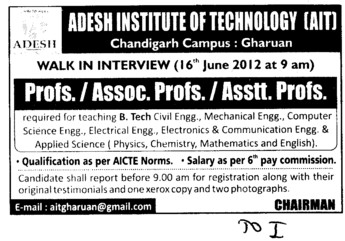 Prof, Asstt Prof, Associate Professor (Adesh Institute of Technology)