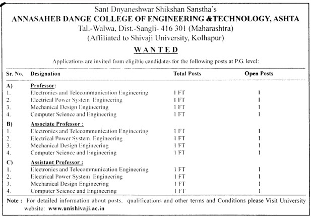 Prof, Asstt Prof and Associate Professor (Shri Annasaheb Dange College of Engineering and Technology (ADCET))