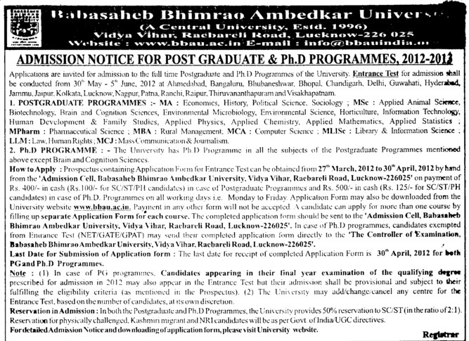 Post Graduate and PhD Programmes (Babasaheb Bhimrao Ambedkar University)
