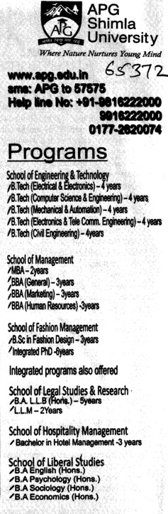 BTech, BBA and MBA Courses etc (APG Shimla University)