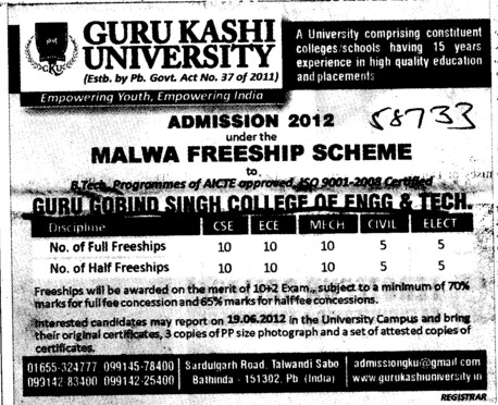 BTech in various streams (Guru Kashi University)
