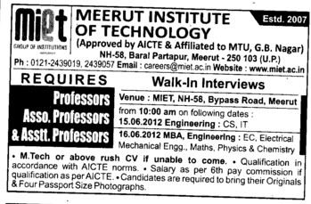 Prof, Asstt Prof, Associate Professor (Meerut Institute of Technology)