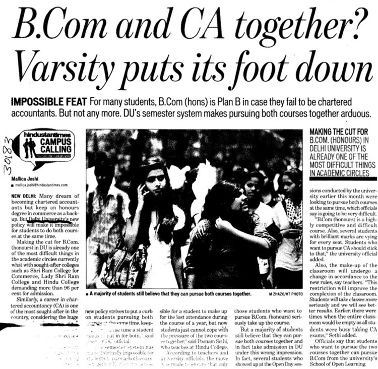 BCom and CA together (Delhi University)