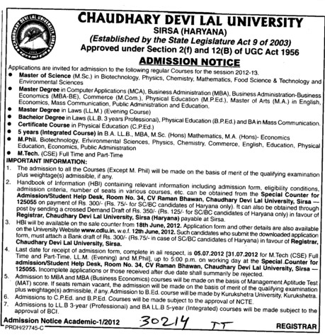 MSc, BA, LLB and MBA Courses etc (Chaudhary Devi Lal University CDLU)