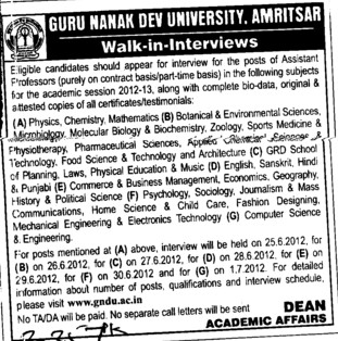 Asstt Professor on Contract basis (Guru Nanak Dev University (GNDU))