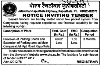 Parking Sheds and Extension of Parking (Punjab Technical University PTU)