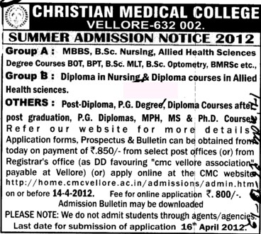 MBBS, BSc Nursing and BPT Courses etc (Christian Medical College and Hospital (CMC))