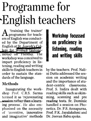 Programme for English teachers (St Josephs College for Women (Autonomous))