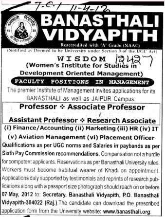 Professor, Asstt Professor and Associate Professor etc (Banasthali University Banasthali Vidyapith)