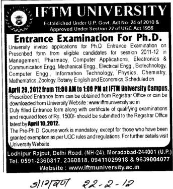 PhD Entrance test 2012 (IFTM University)