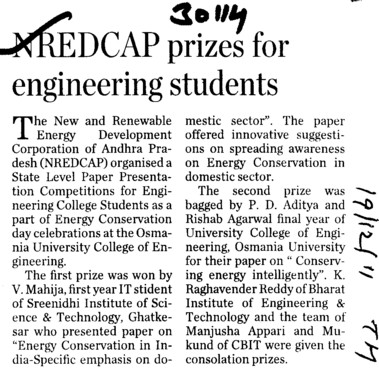 NREDCAP prizes for engg students (Osmania University)