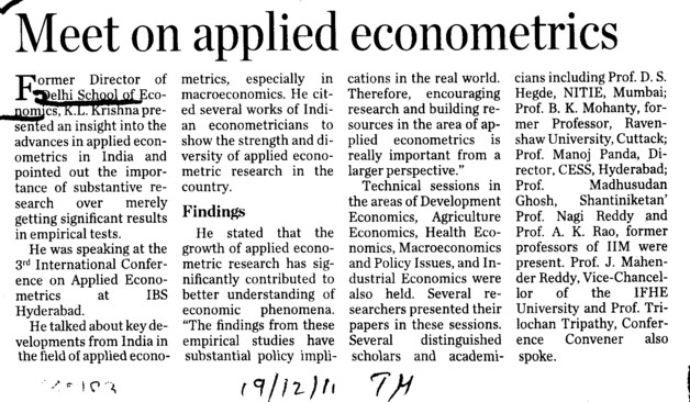 Meet on applied econometrics (Delhi University)