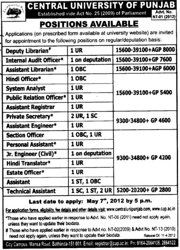 Deputy Librarian, Hindi Officer and Private Secretary etc (Central University of Punjab)