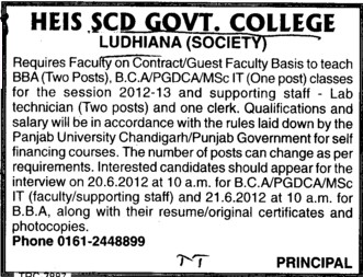 Faculty on adhoc basis (SCD Govt College)