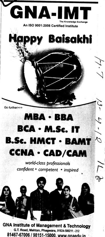 BBA, MBA and BCA Courses etc (GNA Institute of Management and Technology)
