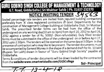 Building Contractors (Guru Gobind Singh College of Management and Technology)